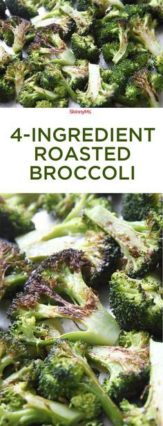 4-Ingredient Roasted Broccoli - super simple and packed with superfood nutrition! #skinnyms