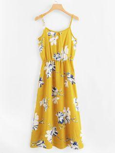 be002c8a8 Floral Print Cami Dress | SHEIN UK Dresses Online, New Fashion, Summer  Dresses,