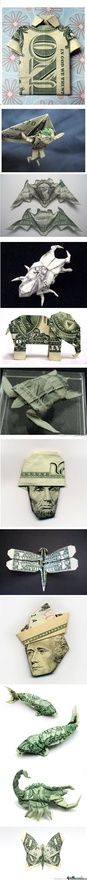 Folded Money Art...who wouldn't want to get a gift like that.  Directions for folding here http://www.squidoo.com/dollar-origami