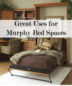 Great Places for Murphy Bed Spaces- perfect for the office/guest room Small Space Living, Small Spaces, Living Spaces, Home Bedroom, Bedroom Decor, Bedrooms, My Dream Home, Home Projects, Decoration