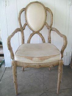 Los Angeles: UNIQUE Vintage Cream Tree Branch Arm Club Accent Chair $50 - http://furnishlyst.com/listings/583909