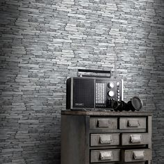 Silver Black Slate Effect Wallpaper by Windsor Wallcoverings features a realistic slate stone design in silver grey. Free UK delivery available. Slate Effect Wallpaper, Black Brick Wallpaper, Stone Wallpaper, Paper Wallpaper, Wall Wallpaper, Wallpaper Patterns, Trendy Wallpaper, Slate Stone, Brick And Stone