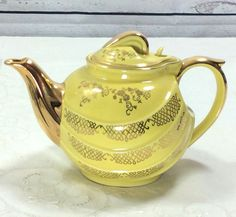 Hall Canary Yellow Parade Teapot  22K Gold Floral Trim  Hook Lid  6 Cup 0799 USA #Hall