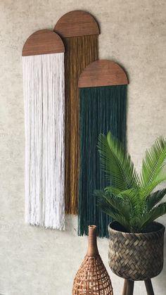 casita hanging wall fiber art mid century modern art tapestry wall art home decor hanging wall yarn woven tapestry macrame half moon panel Tapestry Weaving, Wall Tapestry, Hanging Tapestry, Tapestry Headboard, Home Crafts, Diy Home Decor, Handmade Home Decor, Handmade Art, Nature Home Decor
