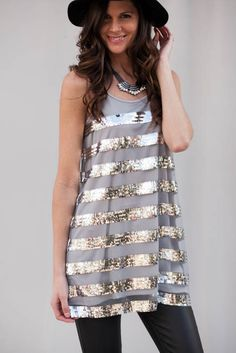 Living Daylights Gray Sequin Dress