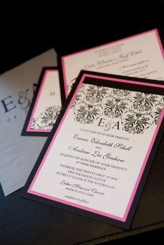 black and hot pink invitations