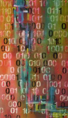"Olga Dacha - Alma Arts Agency ""Codigo Binario"", 2014. Acrylic on canvas 190x90cm"