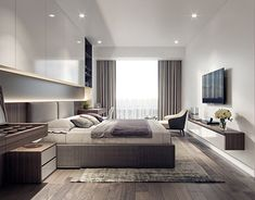 Luxury apartments are offering outrageous amenities to attract tenants . Modern Master Bedroom, Modern Bedroom Design, Master Bedroom Design, Bed Design, Home Decor Bedroom, Apartment Interior Design, Room Interior, Interior Design Living Room, Living Room Designs
