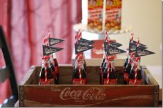 I have a small Coke crate with 6 little glasses. Could use them to decorate the drink concession stand. 2nd Birthday, Birthday Ideas, Birthday Parties, Vintage Baseball Party, Shabby Chic Centerpieces, The Sandlot, Car Themes, Baseball Field, Party Planning