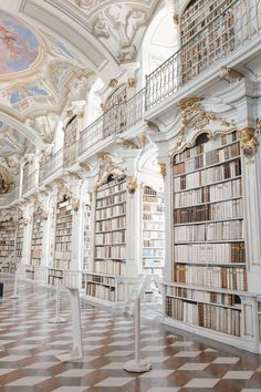 Baroque Architecture, Beautiful Architecture, Architecture Design, Aesthetic Backgrounds, Aesthetic Wallpapers, Beautiful Library, White Aesthetic, Future House, Beautiful Places