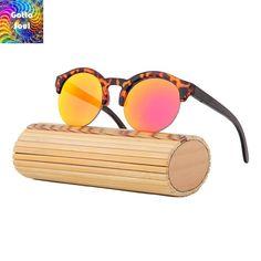 Vintage Half Frame Retro Bamboo Sunglasses