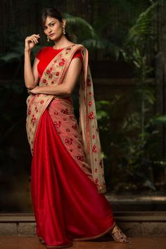 Beige and red floral embroidered net half and half saree  #saree #blouse #houseofblouse #indian #bollywood #style #beige #red #threadwork embroidery #net #matkasilk #lace #border #tassel #dressy #eid #party