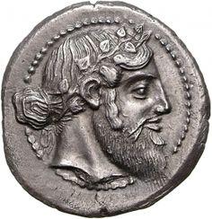 Tetradracma - argento - Naxos, Sicilia (461-430 a.C.) - Dioniso barbuto con serto di edera e capelli annodati sulla nuca - Münzkabinett Berlin