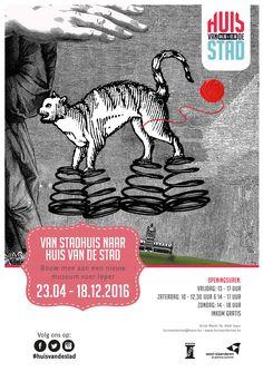 Affiche naar aanleiding van de tentoonstelling 'Van Stadhuis naar Huis van de Stad'. (artwork: Geert Opsomer - Heilige Familie Ieper/Stad Ieper)