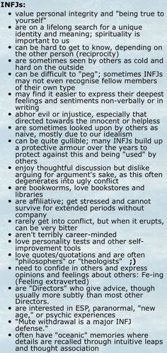 I'm either an INFJ or an INTJ. I can relate to most of this. Scratch the psychic crap. Infj Traits, Infj Mbti, Intj And Infj, Enfj, Infj Personality, Myers Briggs Personality Types, Myers Briggs Infj, Infj Type, A Course In Miracles