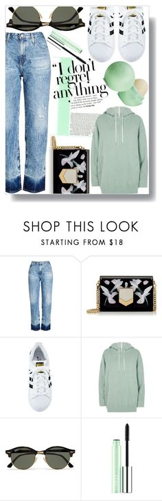 """""""Untitled #1202"""" by sc-styles on Polyvore featuring AG Adriano Goldschmied, Jimmy Choo, adidas, River Island, Ray-Ban, Clinique and Eos"""