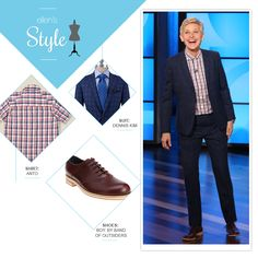 Ellen's Look of the Day: blue plaid suit, red plaid button up shirt, saddle shoes Cc Fashion, Butch Fashion, Androgynous Fashion, Tomboy Fashion, Work Fashion, Fashion Outfits, Lesbian Outfits, Tomboy Outfits, Cool Outfits