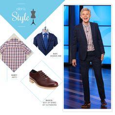 Ellen's Look of the Day: blue plaid suit, red plaid button up shirt, saddle shoes