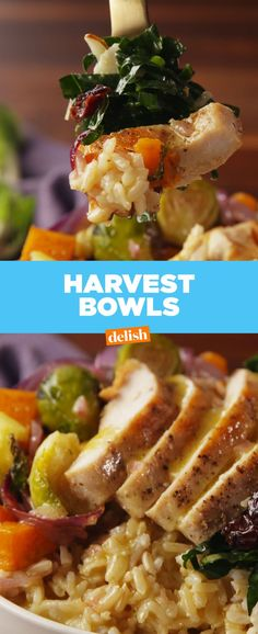 Harvest Bowls Are Our Newest Fall Obsession With love, BakSaks.com Fall Recipes, Dinner Recipes, Pan Cooking, Cooking Recipes, Vegetarian Cooking, Good Food, Yummy Food, Gluten Free Recipes, Healthy Recipes