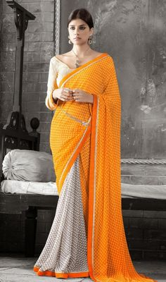 True elegance comes out through the dressing design with this gray, orange and yellow faux georgette saree. Beautified with lace and polka dotted work. #NewDesignCasualSaree