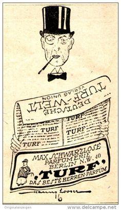 Original-Werbung/ Anzeige 1920 - TURF HERREN - PARFÜM / SCHWARZLOSE - BERLIN - ca. 45 X 75 mm