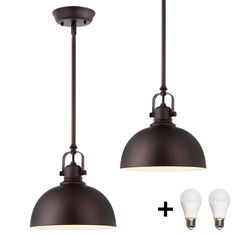 Bennington IPL222B01-ORB-GD-A19 2 Pack of Hudson 1 Light Mini Pendant Fixture with Metal Shades, Oil Rubbed Bronze + Bulbs