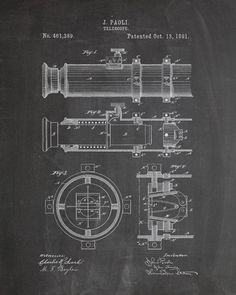 You will love this unique archive print of an 1891 Telescope patent, presented as a vintage industrial or steampunk style drawing. It is part of our curated collection of the most unique, novel and el