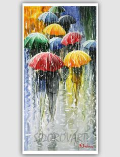 Oil Acrylic Whimsical Canvas Palette Knife Abstract Wall Art Impressionism Decorative Painting Abstract Landscape Autumn Aspens Fall Giclee Painting - Romantic Umbrellas by Stanislav Sidorov Umbrella Painting, Umbrella Art, Art Et Illustration, Love Art, Painting & Drawing, Rain Painting, Painting Abstract, Abstract Landscape, Amazing Art