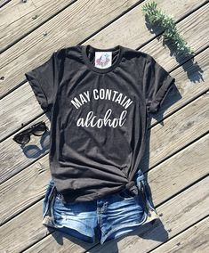 may contain alcohol, dark grey unisex tee, day drinking shirt, lets day drink, brunch shirt, sunday funday shirt, st patricks day shirt