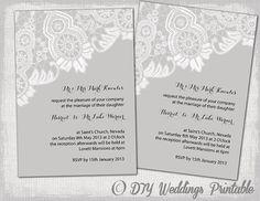 Lace Wedding invitation template Editable by diyweddingsprintable, $8.00
