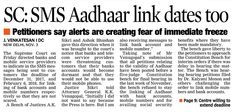 Specify Deadlines in sms For Aadhaar linking, said by the Supreme Court to mobile service providers and banks. Deadline for Aadhaar-bank account linkage is December 31, 2017 and February 6, 2018 for mobile phones.  #LegalLawyersinHyderabad #LegalAdvocatesinHyderabad #LegalFirmsinHyderabad     #LegalServicesinHyderabad