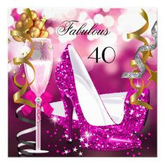 Fabulous 40 Hot Pink Gold Bubbles Glitter Party 3