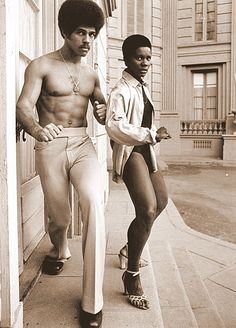 Badass: actor Jim Kelly & actress Gloria Hendry on the set of the film Black Belt Jones, 1974. Kelly was known for his karate skills, and was invited to appear in the cult classic Enter the Dragon. Hendry is best known for portraying the Bond girl, Rosie Carver, in the James Bond film Live and Let Die.