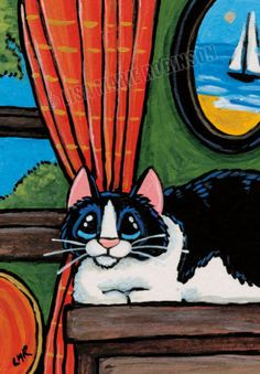 Original-ACEO-art-Black-amp-White-Cat-at-rest-Home-by-Lisa-Marie-Robinson