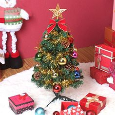 New Artificial Christmas Tree With Ornaments Home Office Christmas Decoration 60cm 0.95Kg * Click on the image for additional details.