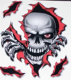 CLASSIC Ripped Open Torn Metal Rip /& Evil Red Gothic Horror Skull car sticker