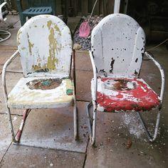 Hettrick vintage metal chairs. See history at www.midcenturymetalchairs.com