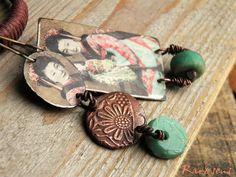 Bohemian earrings-vintage style-boho spirit-rustic earrings-portrait of a geisha-asymmetrical-geisha and her doll-jade green-pink-coral red