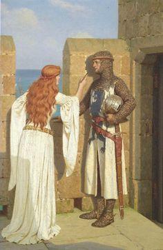 "Pre-Raphaelite Leighton, Edmund Blair > 1922 UK, painter medieval/regency theme) ""The Shadow"" Medieval Art, Medieval Fantasy, Medieval Dress, Medieval Times, Medieval Castle, Fantasy Kunst, Fantasy Art, Pre Raphaelite, Beautiful Paintings"