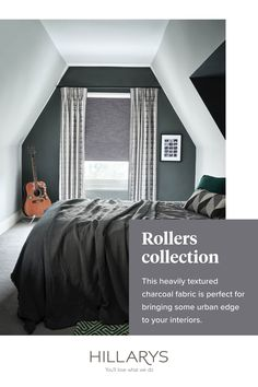 Nothing quite beats a good night's sleep. Our range of blackout Roller blind fabrics are specifically designed to block light, creating the right environment for sleep. Here Hayden Graphite Roller blind creates a rugged finish of the heavily textured charcoal fabric is a cool complement to the industrial inspired décor. Pair your blackout blind with curtains for extra warmth and noise reduction. View more from our range of Roller blind inspiration.