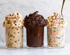 Edible Cookie Dough 3 Ways! dinner for 4 Edible Cookie Dough Delicious Flavors} - Cooking Classy Cookie Dough Vegan, Cookie Dough Recipes, Chocolate Chip Cookie Dough, Baking Recipes, Dessert Recipes, Cookie Dough Brownies, Cookie Dough For One, Protein Cookie Dough, Cookie Dough Dip