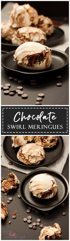 Chocolate Swirl Meringues by Sugar Salt Magic. Meringues taste amazing and they are also incredibly easy to make. Only 4 ingredients! These meringues were inspired by a trip to Venice.