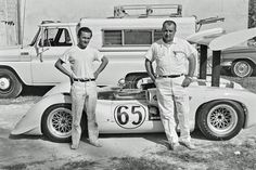 Chaparral mechanics Franz Weis (left) and George Goebel pose with the Chaparral 2E at Nassau, December 1966. Eric della Faille photo.