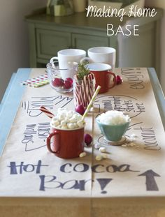 Christmas Party Tour: Making Home Base. Fantastic ideas to add Christmas Touches all around your home! ideas at home Cocoa Party, Chocolate Party, Hot Chocolate Bars, Xmas Party, Holiday Parties, Party Time, Party Party, Paper Tablecloth, Hot Cocoa Bar