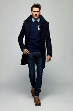 I really like the longer coat he is wearing in the picture. Good for fallish weather