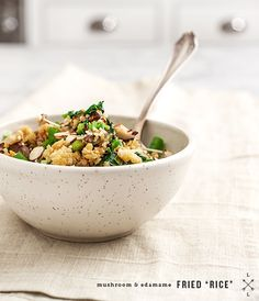 "Mushroom & edamame fried ""rice"" -- make it with quinoa, bulgur, coucous, or your favorite grain. Recipe from Keys to the Kitchen, by Aida Mollenkamp"