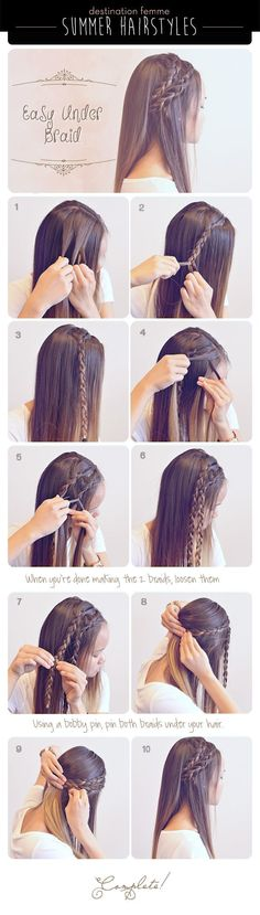 Summer Braid Hairstyle For Summer summer long hair braids diy hair hair tutorial. - Summer Braid Hairstyle For Summer summer long hair braids diy hair hair tutorial hairstyles hair tu - Summer Hairstyles, Cool Hairstyles, Easy Hairstyle, Wedding Hairstyles, Easy Updo, Medium Hairstyles, Hairstyle Ideas, Casual Hairstyles, Braid Hairstyles