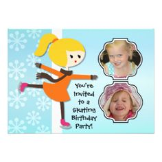 Having a birthday skating party? You'll love these cute and colorful winter skating theme Blond Girl Birthday Skating Party invitations that you can easily add photos and your birthday party specifics to! Features a blond haired ice skating girl on a soft blue background with white snowflakes! #skating #skater #photos #skates #winter #birthday #customized #parties #kids #girls #custom #peacockcards #personalized #childrens