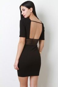 Sheer Stripe Waist Dress