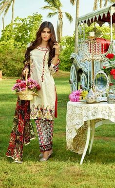 Shirt: Fabric: Embroidered Front & Embroidered Lace, Printed Back with Sleeves Shalwar/Trousers: Fabric: Printed Trouser. Dupatta: Fabric: Printed Chiffon Dupatta.